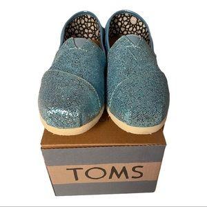 Toms Classics New Women's Blue Glitter fits 6-6.5